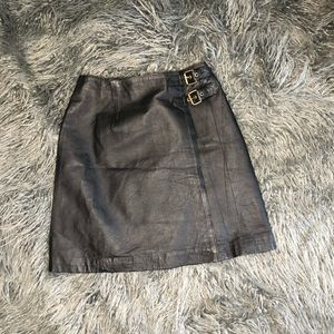 Black Genuine leather skirt